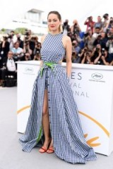 "Marion Cotillard at the photocall for ""Angel Face"" during the 2018 Cannes Film Festival, wearing a Adam Selman Spring 2018 gingham design – French style – celebrity fashion"
