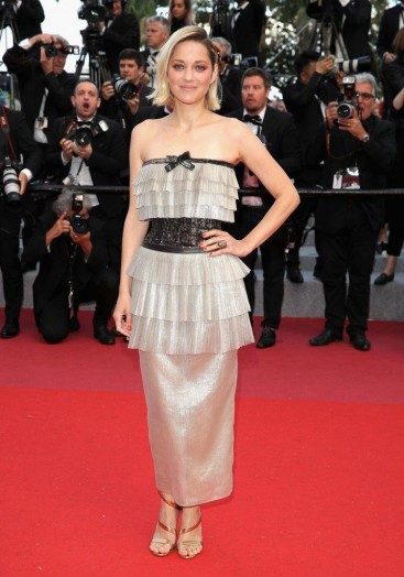 Marion Cotillard at the Cannes Film Festival wearing a strapless metallic Chanel design, May 2018 – celebrity red carpet fashion – French star style