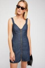 Free People Marjorie Denim Mini Dress Dark Blue | bustier style dresses