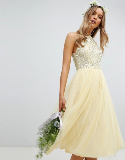 Maya halterneck delicate sequin detail tulle midi dress in lemon – pale yellow bridesmaid dresses