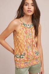 Akemi + Kin Melina Embroidered Halter Top in Yellow Motif at Anthropologie | summer halterneck