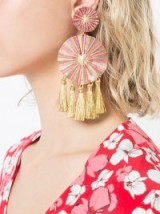 MERCEDES SALAZAR large tassel earrings ~ pink and gold fringed jewellery