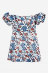 Topshop Metallic Floral Jacquard Mini Dress | off shoulder summer style