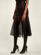 ALEXANDER MCQUEEN Metallic-knit pleated midi skirt ~ semi sheer clothing ~ metallic threads