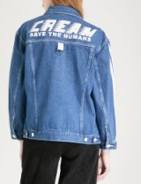 MINI CREAM Save The Humans stretch-denim jacket ~ slogan prints