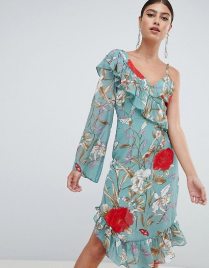 Missguided Asymmetric Frill Detail Floral Midi Dress Green / one sleeve