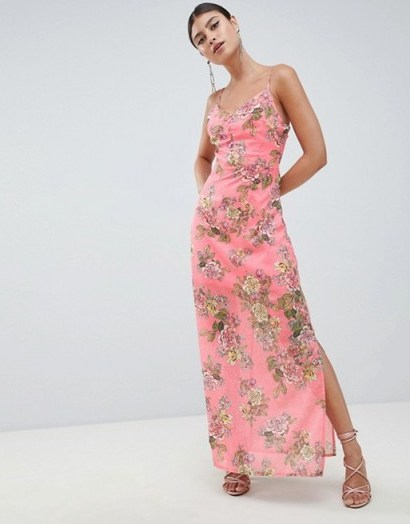 Missguided Chiffon Floral Side Split Maxi Dress Pink / going out glamour - flipped