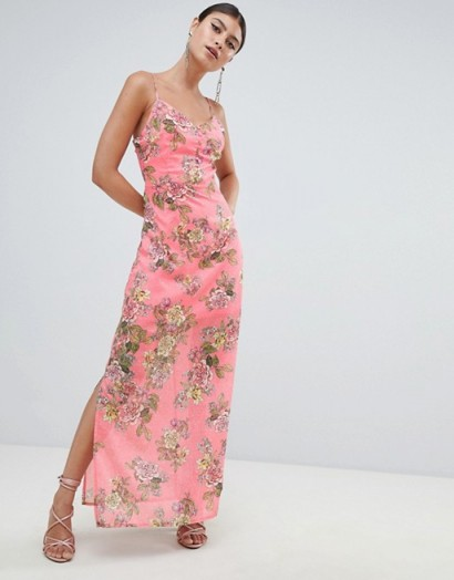 Missguided Chiffon Floral Side Split Maxi Dress Pink / going out glamour