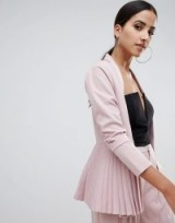 Missguided Pleated Blazer in Nude