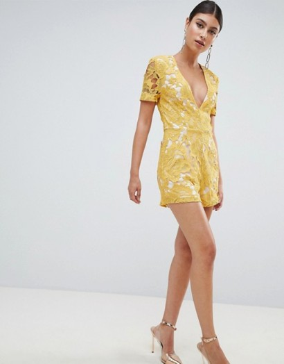Missguided Plunge Lace Playsuit Yellow