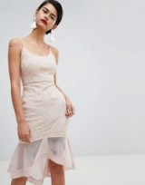 Missguided Strappy Lace Mesh Fishtail Midi Dress Nude / floral evening fashion