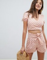 Missguided Polka Dot Wrap Front Top & Shorts Co-Ord – vintage style summer outfits