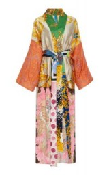Rianna + Nina M'O Exclusive Belted Printed Silk-Satin Robe ~ long oriental style coats