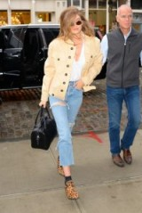 Gigi Hadid out in NY – cropped ripped jeans, pale-apricot leather jacket and leopard print mules | celebrity street style | models off duty denim