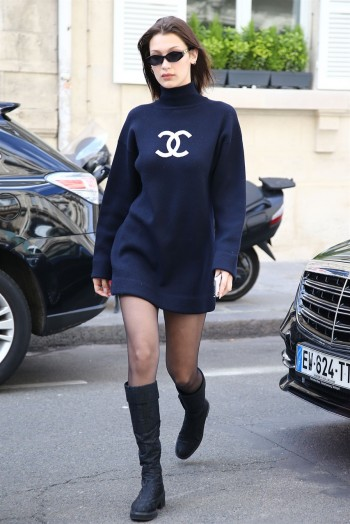 Bella Hadid out in Paris wearing a Chanel polo neck ...