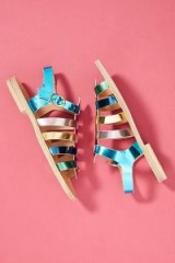 Morena Gabrielli Classic Gladiator Sandals | metallic rainbow flats