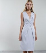 REISS MOSAIC TWIST FRONT DRESS SILVER LAKE ~ chic plunge front clothing