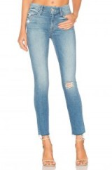 MOTHER THE LOOKER ANKLE FRAY in Love Gun | blue distressed denim jeans