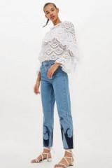 MOTO Flame Applique Mom Jeans | blue denim