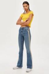 Topshop MOTO Side Stripe Jamie Flare Jeans | blue denim
