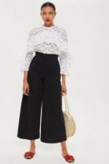 MOTO Wash Black Shirred Waist Jeans | cropped wide leg