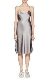 NILI LOTAN Grey Silk Charmeuse Midi-Slipdress | curved hem cami dress
