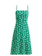 HVN Nora floral-print silk slip dress | green cami sundress