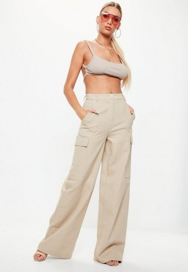 missguided nude premium wide leg cargo trousers – casual – neutral – fashion – weekend