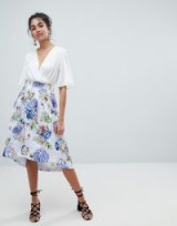 Oasis Floral Bloom Print Dip Hem Midi Skirt – summer fashion – feminine style