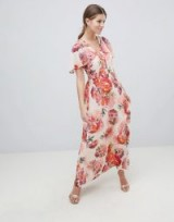 Oasis Rose Print Angel Sleeve Maxi Dress / summer occasions