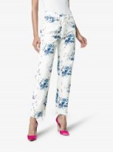 Off-White X Browns Floral Print Straight Denim Jeans ~ frayed hems