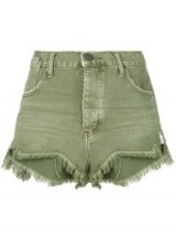 ONE TEASPOON khaki cut off shorts | green denim | frayed hem