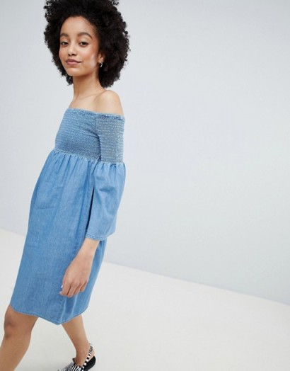 Only Denim Smock Dress – bardot – off the shoulder