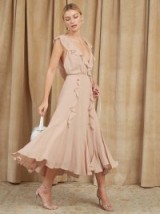 Reformation Paradise Dress in Champagne | floaty ruffle trim | plunging necklines