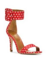 PARIS TEXAS polka dot buckled sandals – red and white spots – retro heels