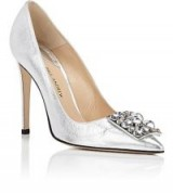 PAUL ANDREW Ornament-Detailed Metallic Leather Pumps ~ luxe silver courts