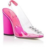PAUL ANDREW Serrano Clear PVC & Fuchsia Satin Pumps ~ pink block heel