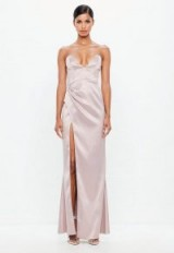 peace + love mauve bonded satin maxi dress – long luxe eveningwear