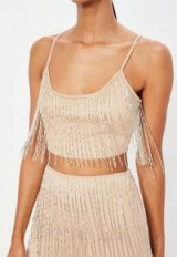 peace + love nude fringe embellished crop top – cropped evening camisole