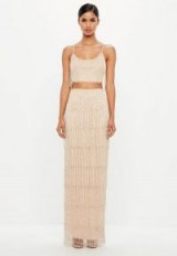 peace + love nude fringe embellished maxi skirt – luxe style going out fashion