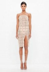 peace + love nude grid embellished bandeau midi dress – sheer light pink strapless party dresses