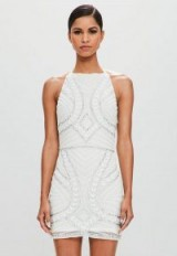 MISSGUIDED peace + love white halterneck embellished mini dress – luxe party fashion