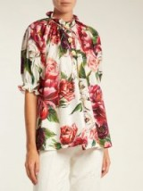 DOLCE & GABBANA Peony and rose-print cotton-poplin top ~ beautiful ruffle trimmed blouses