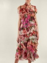 DOLCE & GABBANA Peony and rose-print tiered chiffon midi dress ~ feminine ruffles ~ beautiful Italian clothing