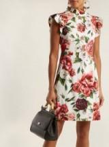 DOLCE & GABBANA Peony-print ruffle-trimmed dress ~ high neck ~ flutter sleeve