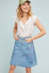 Pilcro A-Line Denim Skirt | floral prints
