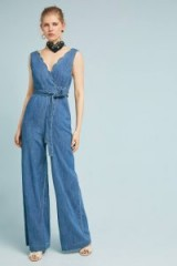 Pilcro and the Letterpress Denim Wide-Leg Jumpsuit ~ scalloped V-neck