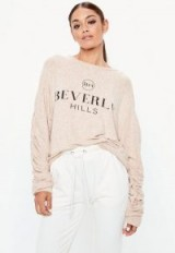 MISSGUIDED pink beverly hills slogan brushed sweatshirt ~ casual tops