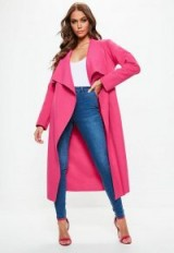 Missguided pink oversized waterfall duster coat