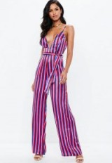 Missguided pink striped v neck wide leg satin jumpsuit – plunge front going out jumpsuits